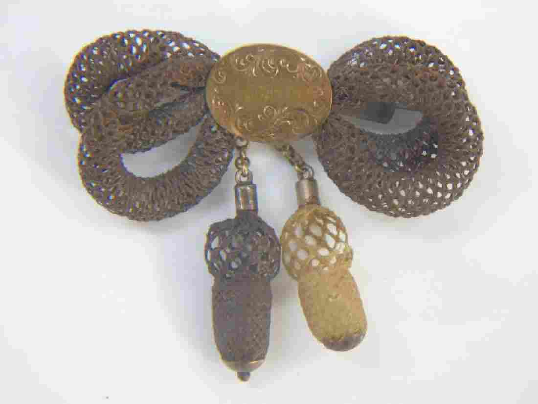 Antique 19th C Victorian Mourning Hair Gold Brooch