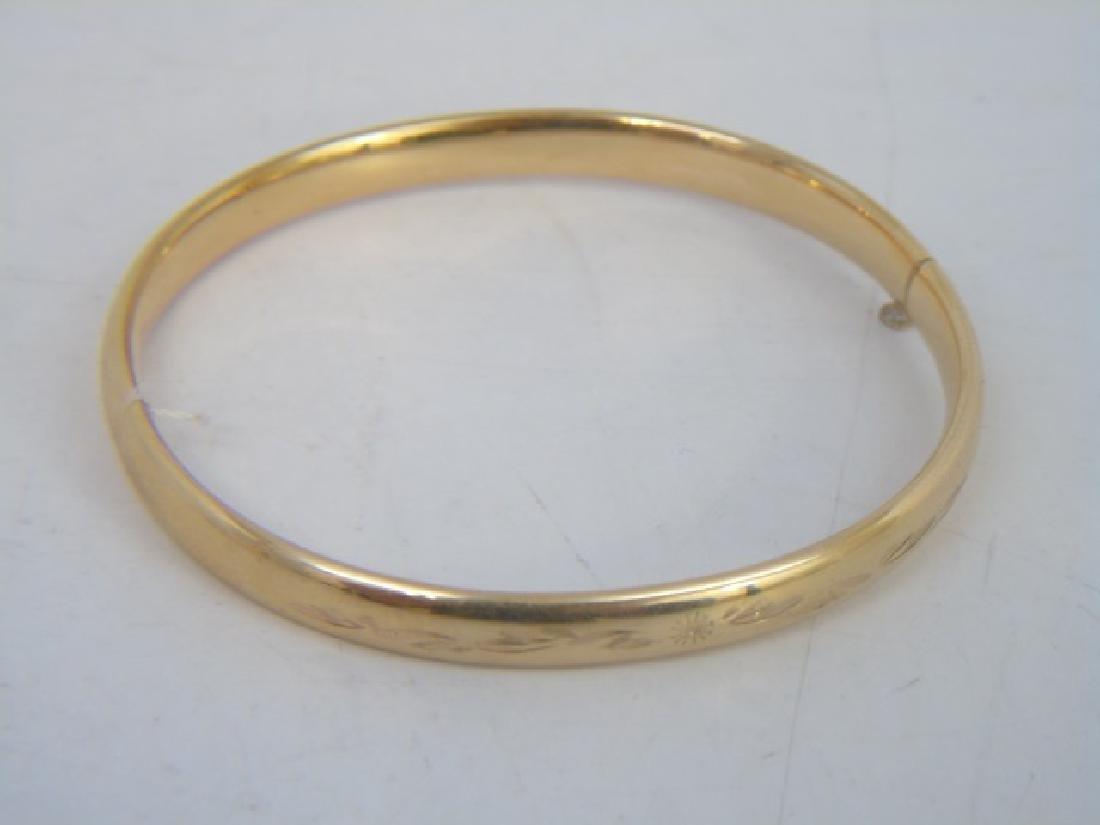 Pair Estate Etched 14k Yellow Gold Bangle Bracelet - 5