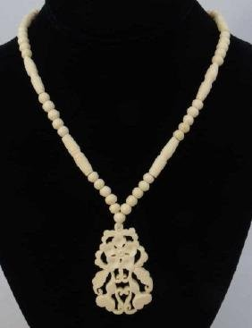 Antique Chinese Carved Bone Necklace & Pendant