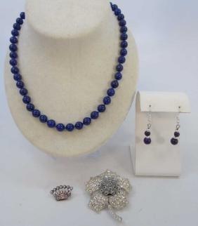Group of Sterling, Rhinestone & Hardstone Jewelry