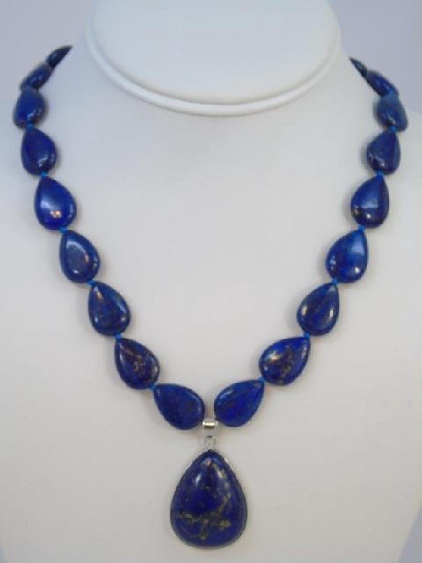 Carved Pear Shape Lapis Lazuli Hand Made Necklace