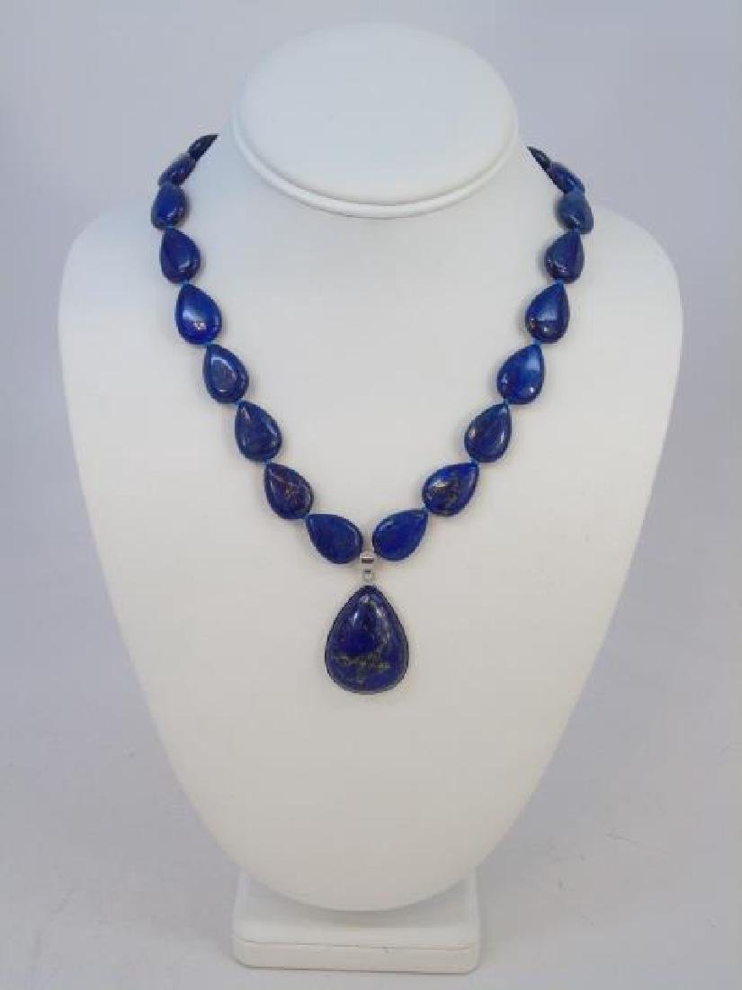 Carved Pear Shape Lapis Lazuli Hand Made Necklace - 3
