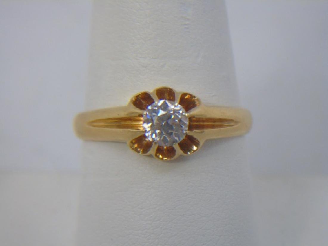 Estate English Diamond Solitaire Yellow Gold Ring