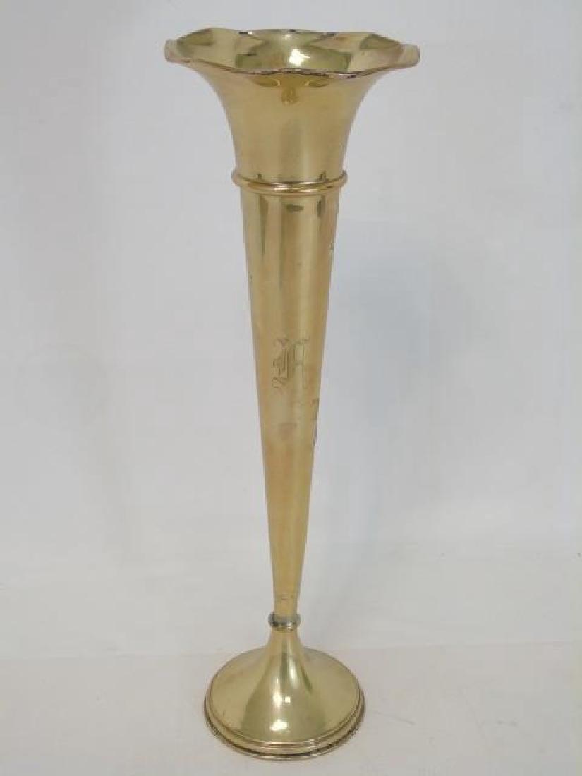 Large Gilt Wash Sterling Silver Trumpet Vase