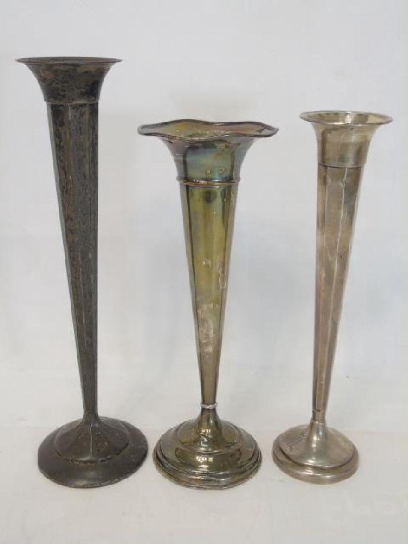 Three Antique Sterling Silver Trumpet Vases