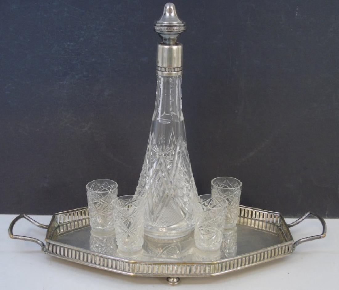 Antique 800 Silver Decanter Bottle & Glass Set