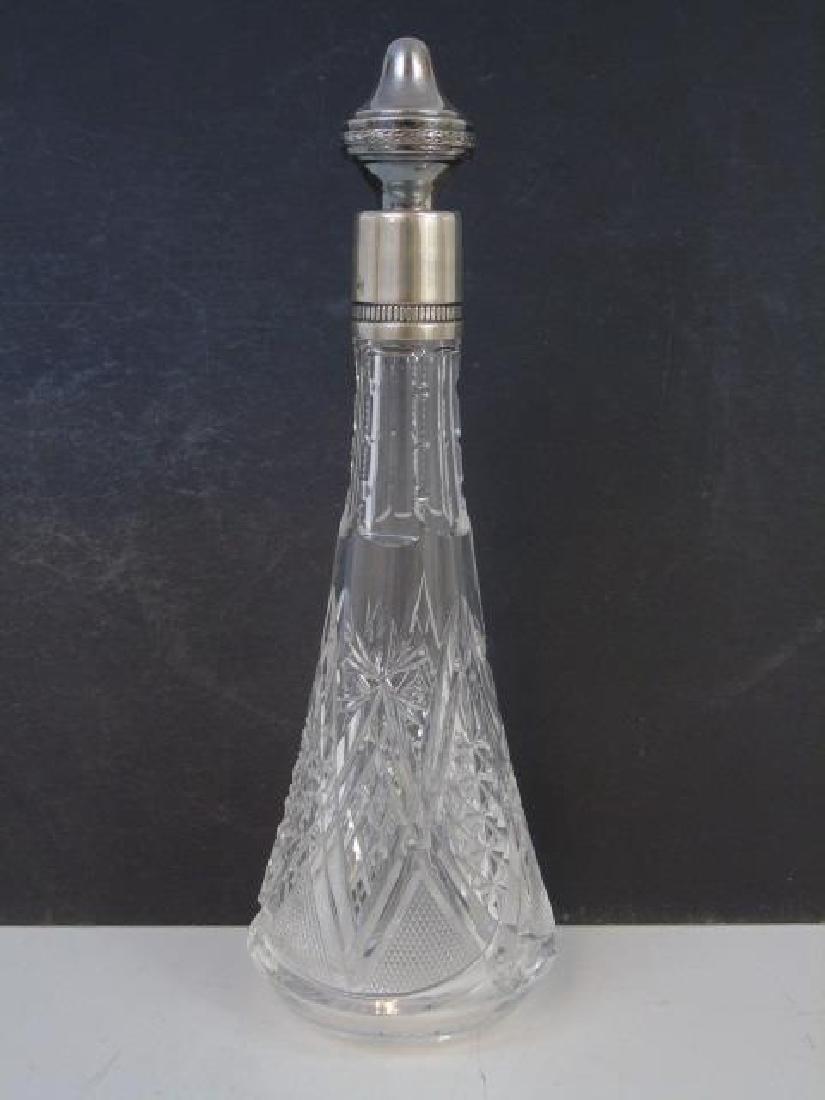 Antique 800 Silver Decanter Bottle & Glass Set - 3