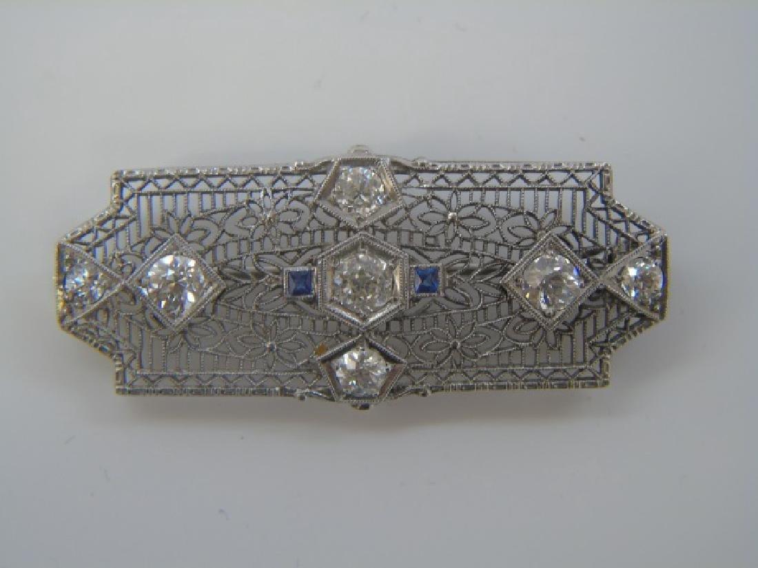 Estate Antique 4 Carat Diamond & Sapphire Brooch