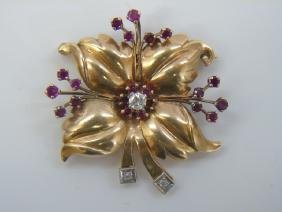 Estate Retro Style Gold Diamond Ruby Flower Brooch