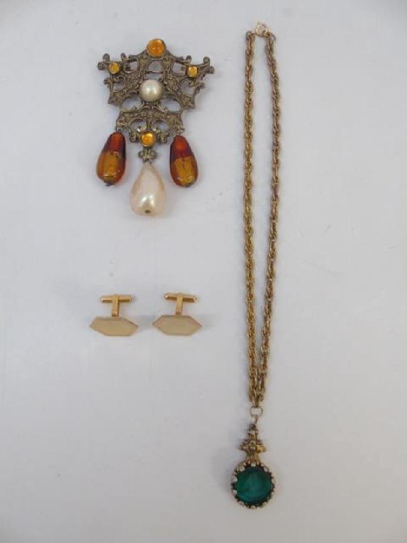 Cameo Necklace, Gold Filled Cuff Links & Brooch