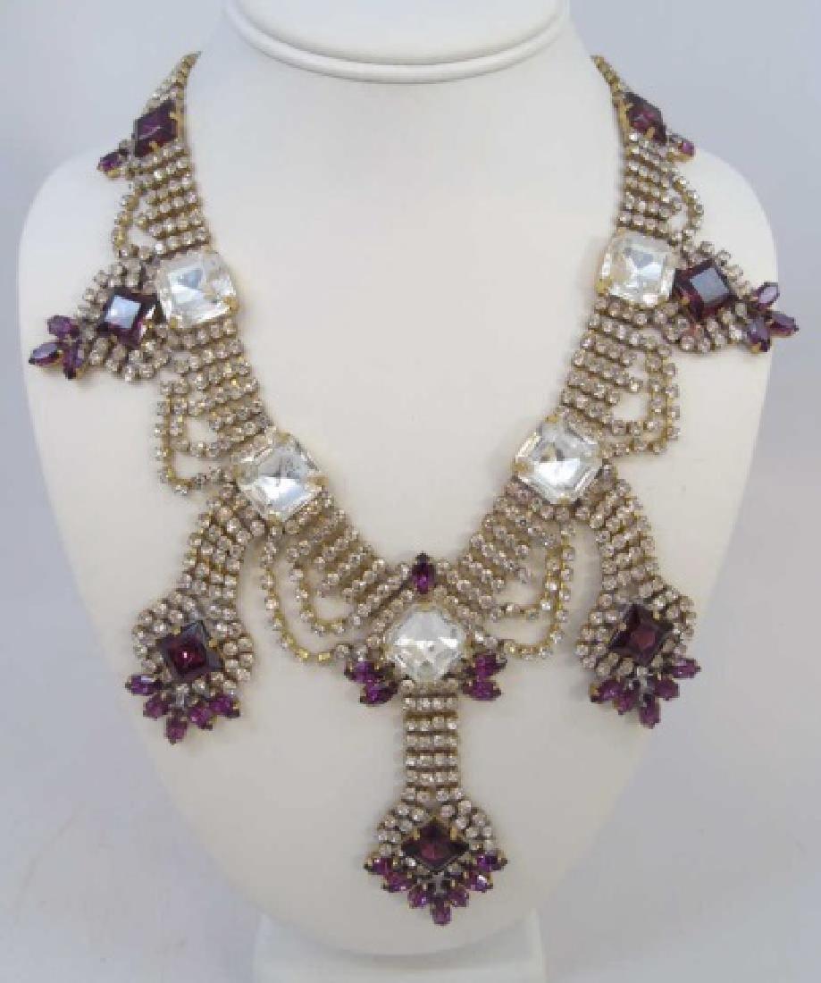 Vintage Rhinestone Crystal Pendant Drop Necklace