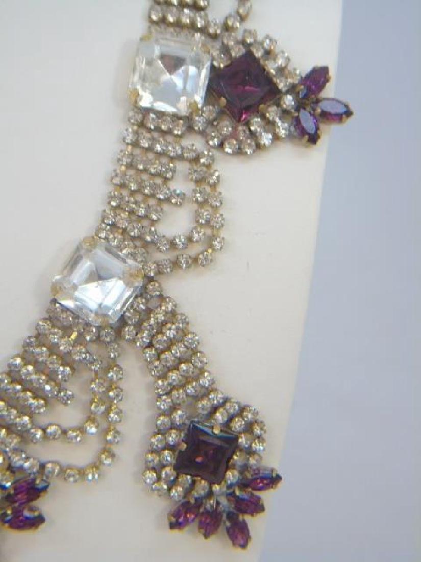 Vintage Rhinestone Crystal Pendant Drop Necklace - 2