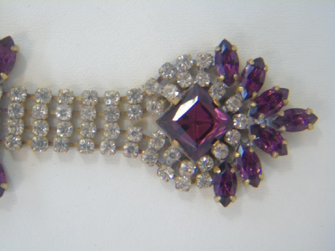 Vintage Rhinestone Crystal Pendant Drop Necklace - 3