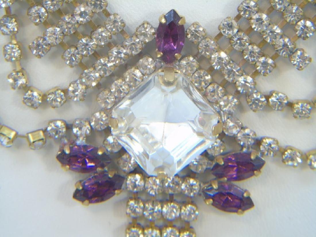 Vintage Rhinestone Crystal Pendant Drop Necklace - 4