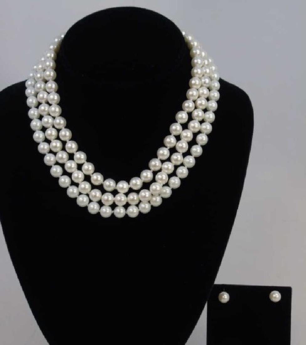 Three Akoya Style White Pearl Necklaces & Earrings