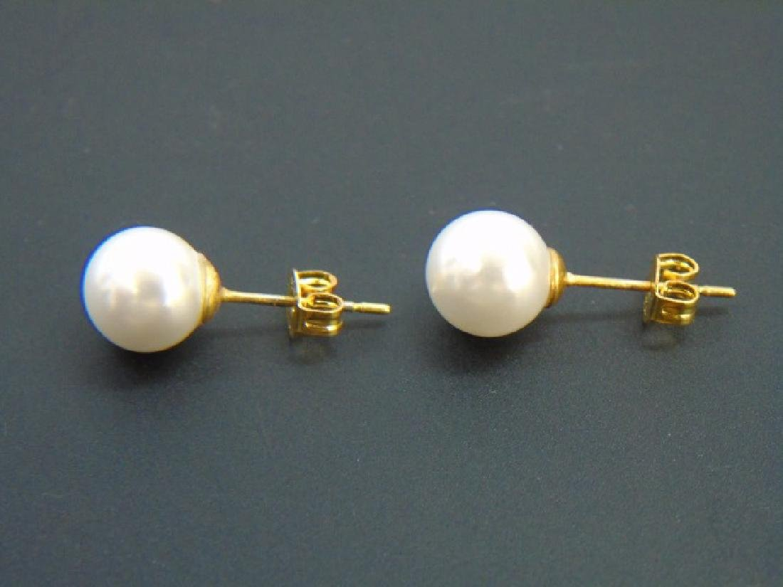 Three Akoya Style White Pearl Necklaces & Earrings - 2