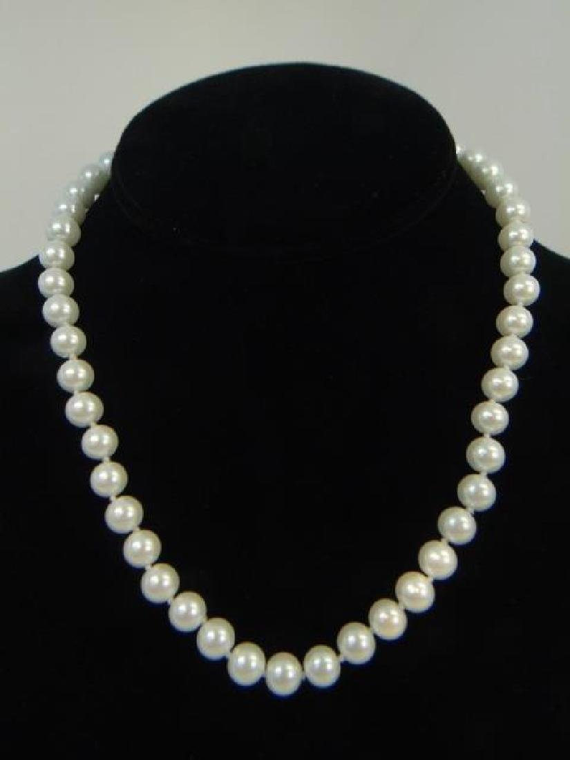 Three Akoya Style White Pearl Necklaces & Earrings - 3