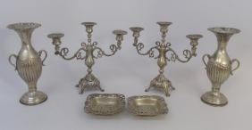 Antique 800 Silver & Silver Plate Table Articles
