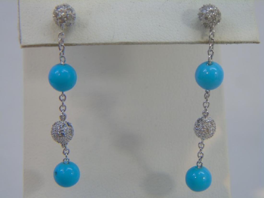 Pair Estate Pave Diamond & Turquoise Earrings