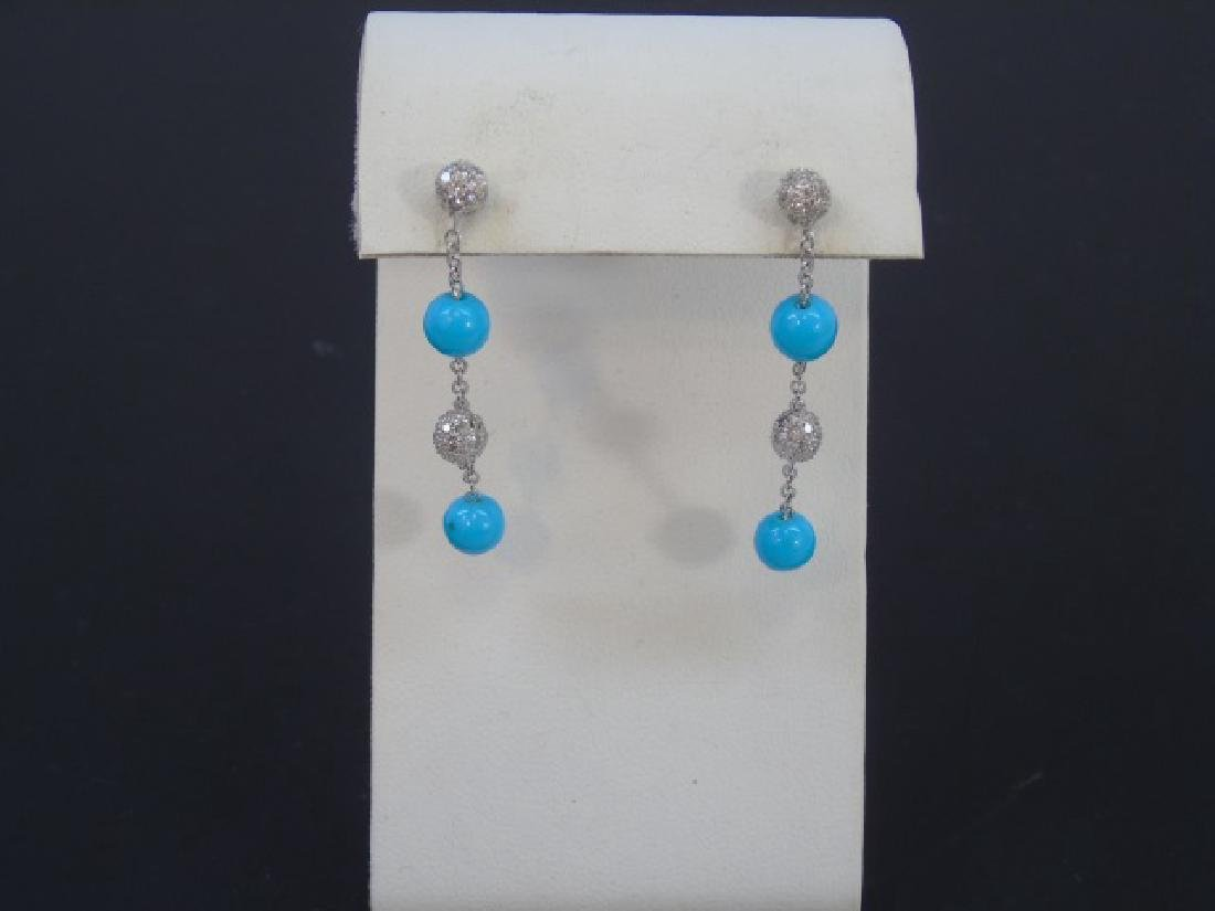 Pair Estate Pave Diamond & Turquoise Earrings - 3