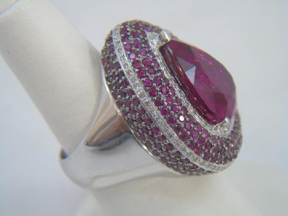 Estate 18kt Gold Diamond Ruby & Tourmaline Ring