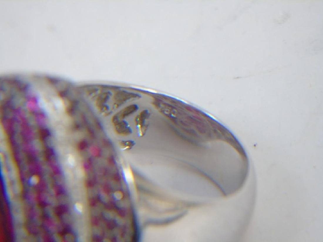 Estate 18kt Gold Diamond Ruby & Tourmaline Ring - 2