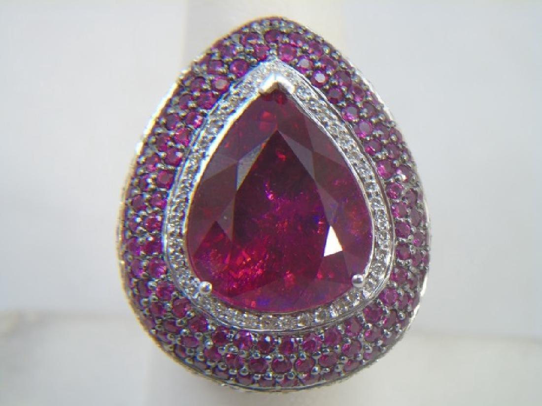 Estate 18kt Gold Diamond Ruby & Tourmaline Ring - 3