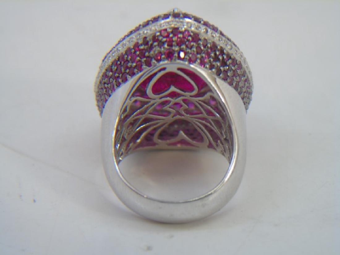 Estate 18kt Gold Diamond Ruby & Tourmaline Ring - 4