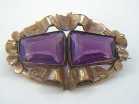 Antique Gold Filled Victorian Amethyst Brooch