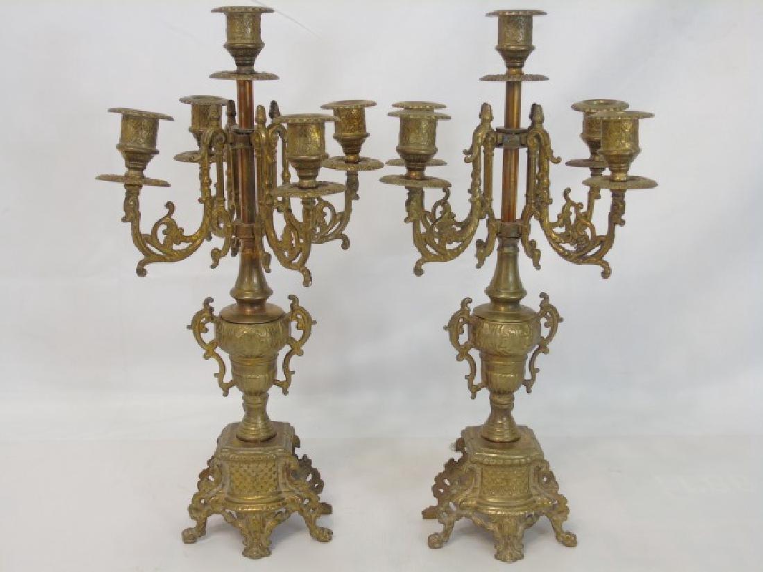 Pair Antique Gilt Bronze 5 Arm French Candelabras