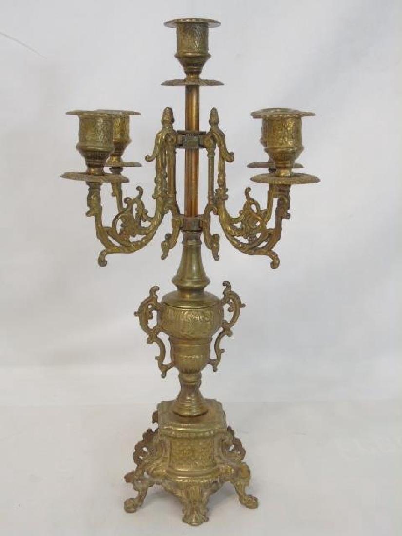 Pair Antique Gilt Bronze 5 Arm French Candelabras - 3