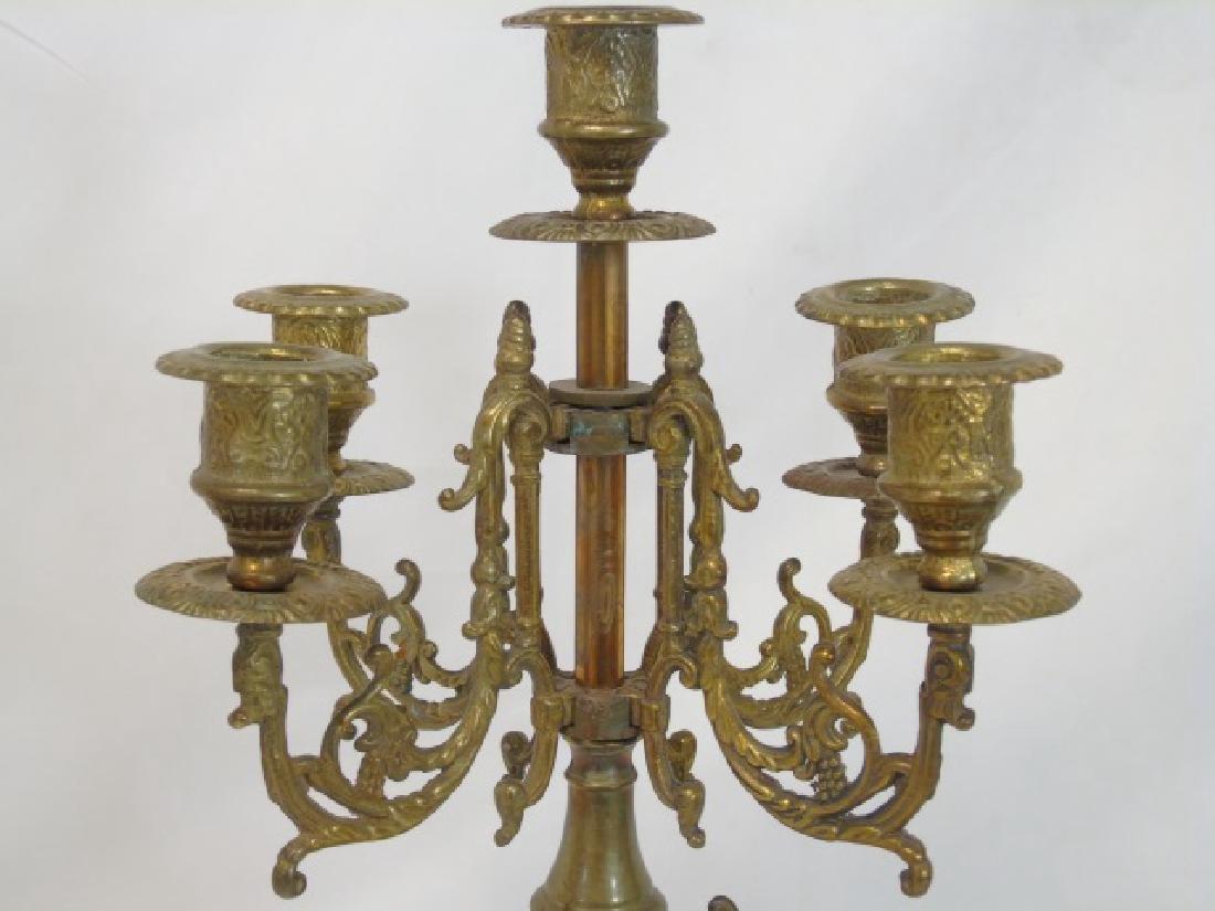 Pair Antique Gilt Bronze 5 Arm French Candelabras - 4