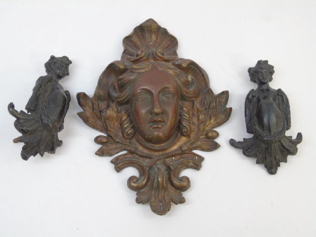 3 Antique Victorian Neo Classical Bronze Plaques