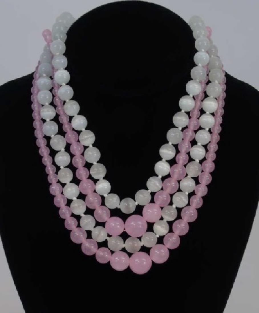 Four Strands of Rose Quartz & Opalescent Beads