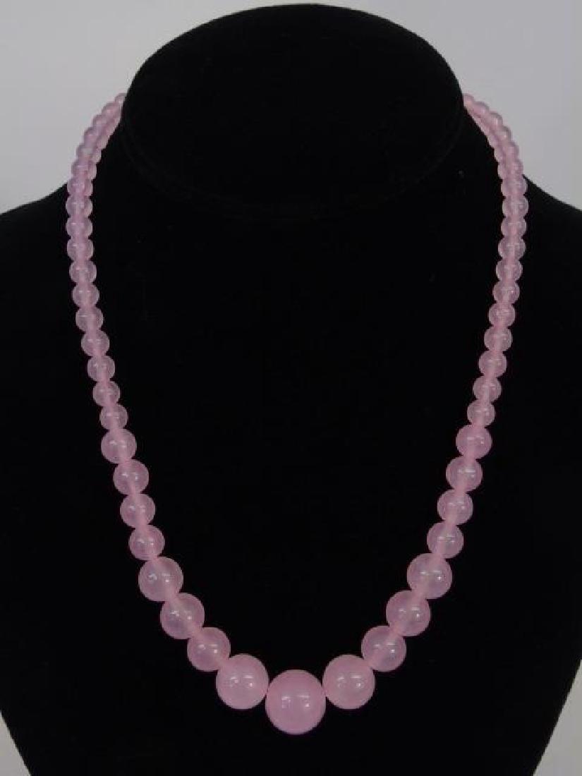 Four Strands of Rose Quartz & Opalescent Beads - 3
