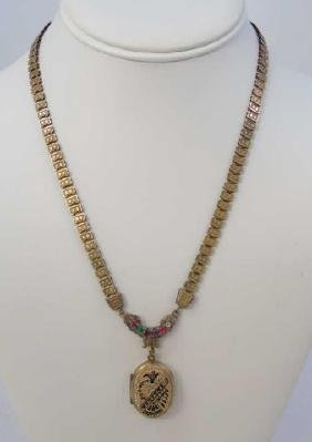 Antique 19th C Victorian Gold Fill Locket Necklace