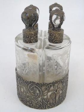 Antique German Repousse Silver Perfume Set