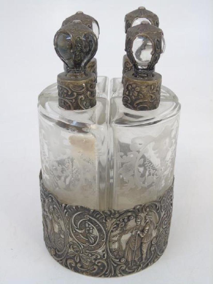 Antique German Repousse Silver Perfume Set