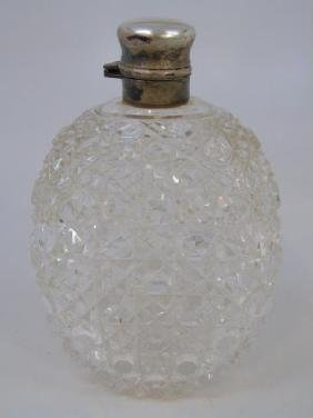 Large Antique Sterling Silver & Cut Crystal Flask
