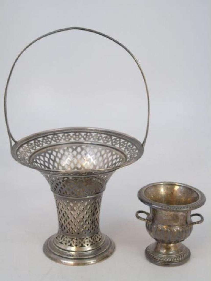 Reticulated Sterling Basket & Tooth Pick Holder
