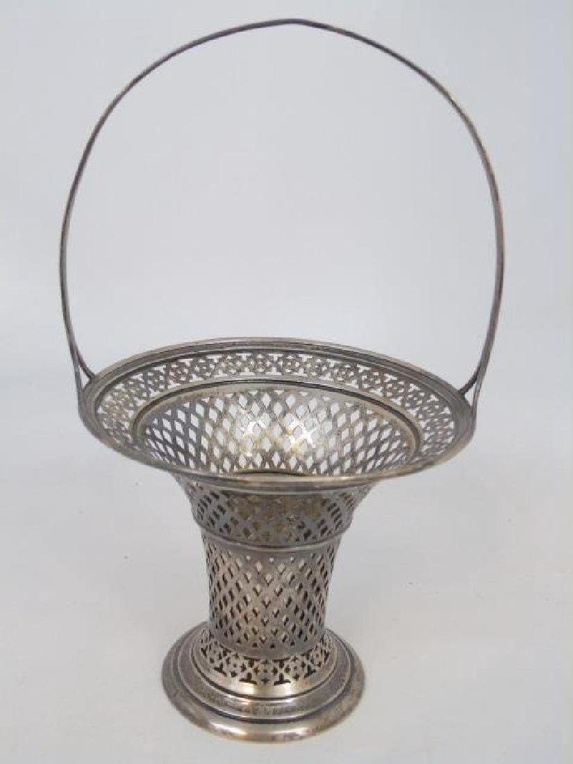 Reticulated Sterling Basket & Tooth Pick Holder - 3