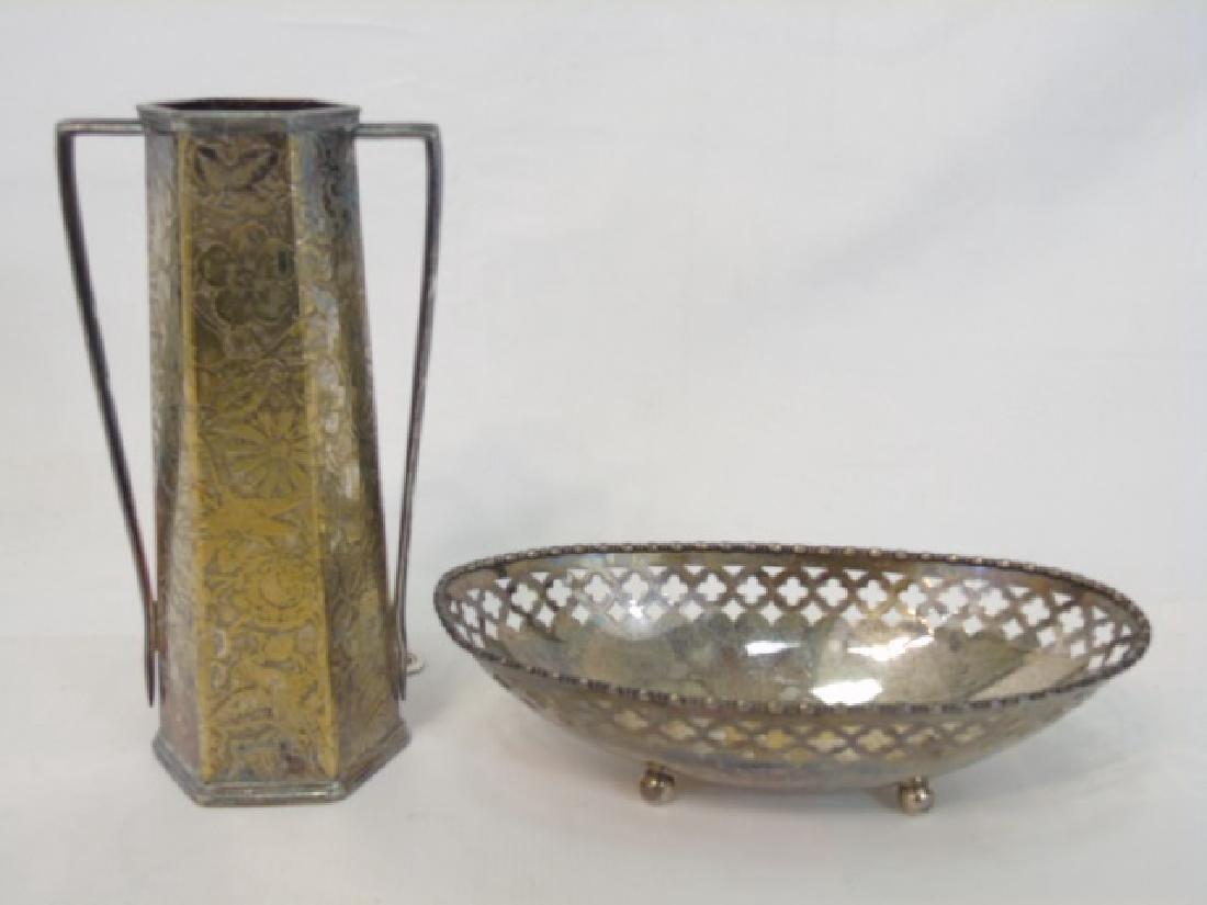 Antique Sterling Silver Basket & Silver Plate Vase