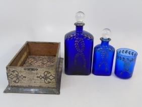 Antique Cobalt Glass & Silver Leaf Vanity Set