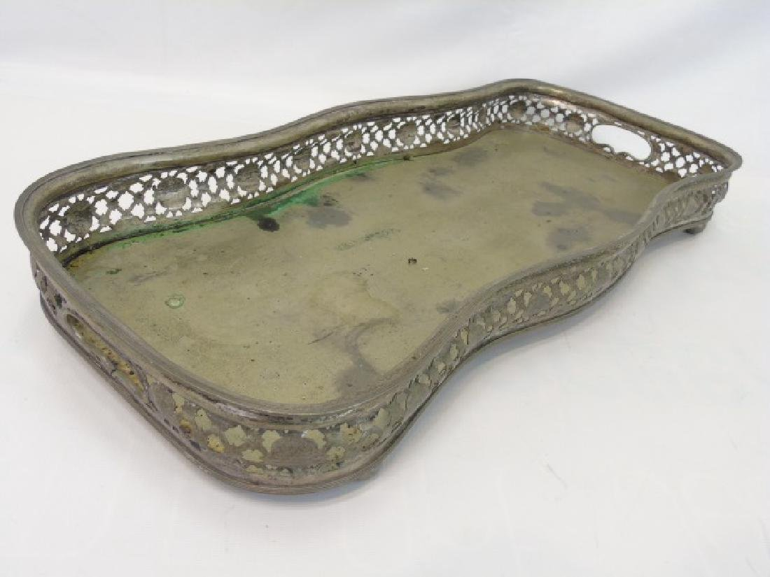 Antique Silver Plate Galleried Edge Serving Tray - 2