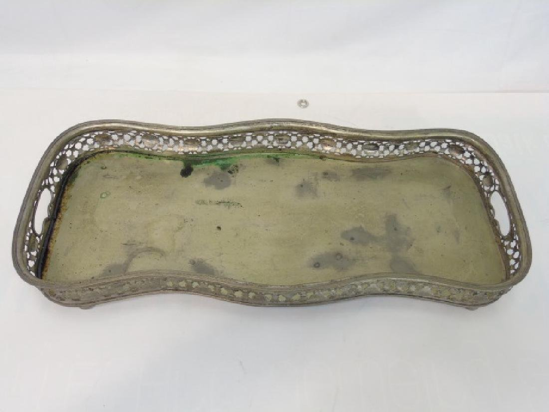 Antique Silver Plate Galleried Edge Serving Tray - 3