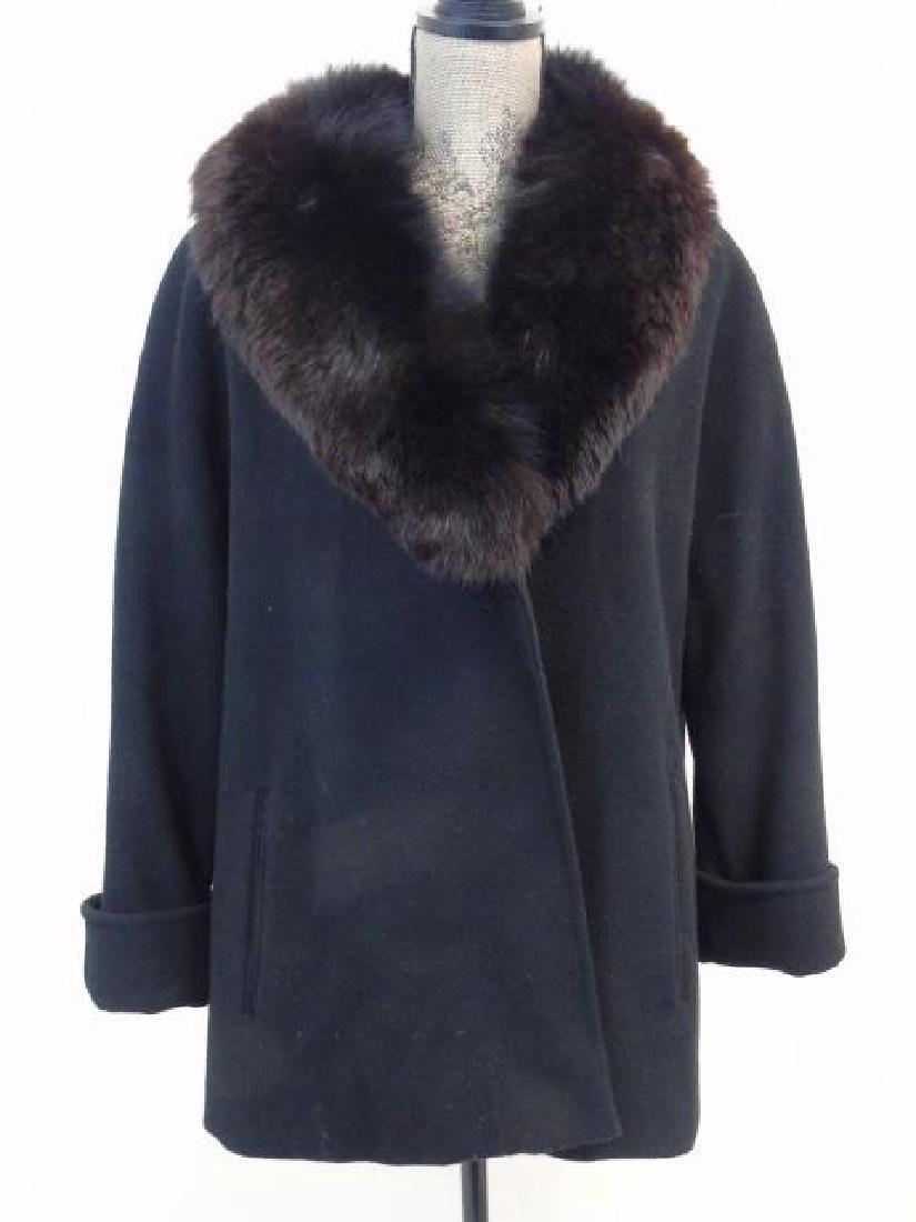 Saks Fifth Avenue Black Wool Coat, Faux Fur Collar