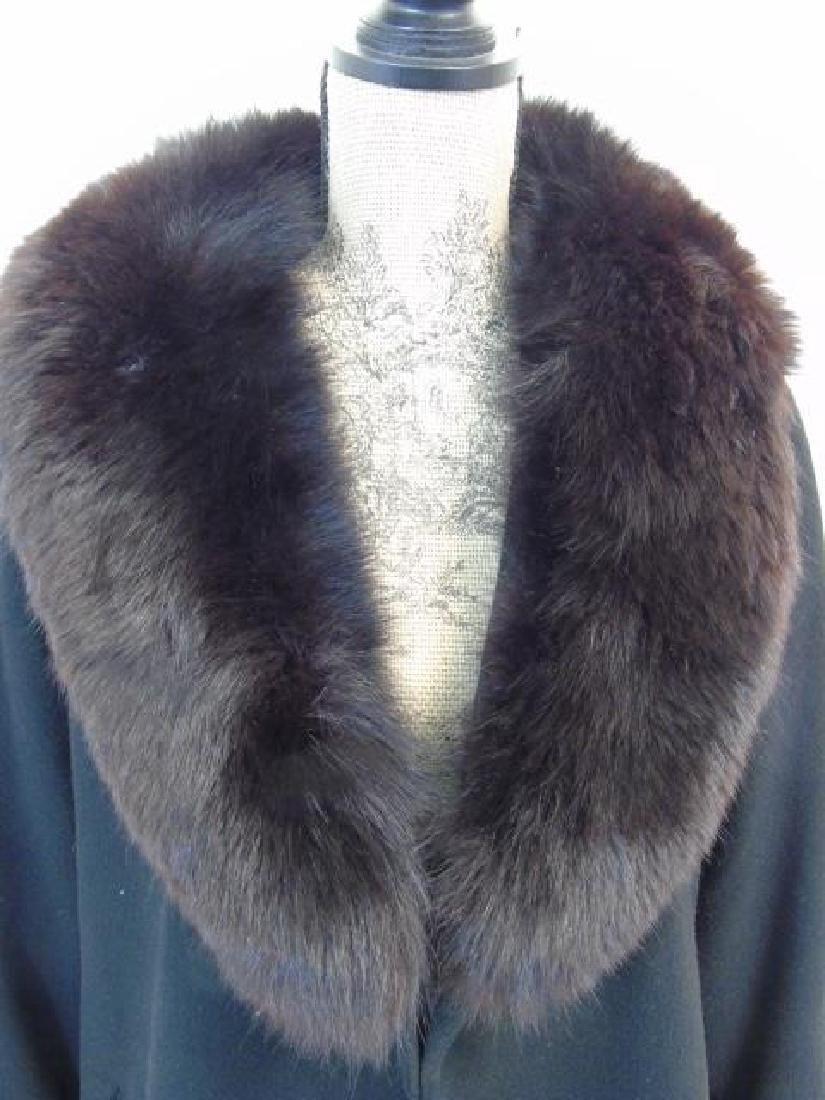 Saks Fifth Avenue Black Wool Coat, Faux Fur Collar - 3