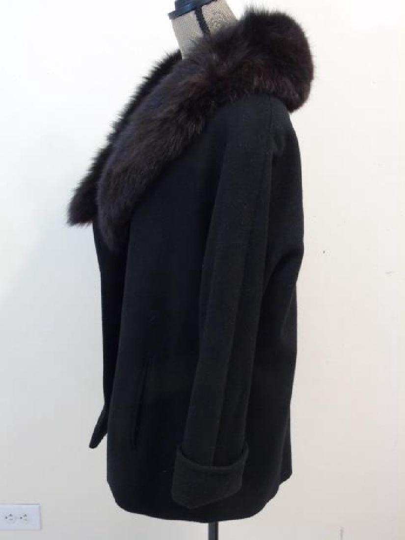 Saks Fifth Avenue Black Wool Coat, Faux Fur Collar - 4