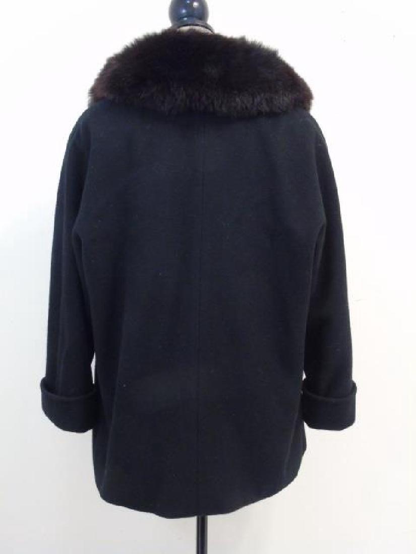 Saks Fifth Avenue Black Wool Coat, Faux Fur Collar - 5
