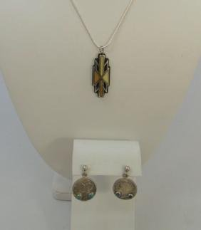 Native American Turquoise Pendant & Dime Earrings